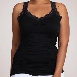 M.Rena  Black Seamless Lace Tank Plus Size